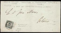 E-ALFONSO XII. 1877. 173 (1/4). Colunga (Oviedo) A Piloña (Oviedo), Por Infiesto. Mat. Fecha TIPO II (**) Sobre Sello De - Spain
