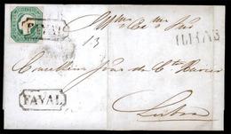 PORTUGAL. 1864 (June), 17, Blue Gree. FAYAL To Lisbon. EL. Franked D. Luis Rare Shade 50rs. Blue Green, V. Good Margins, - Portugal