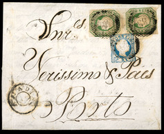 PORTUGAL. 1857 (June 30). 8º (2), 12º Type I. Anadia To Porto. EL. Franked 50rs. Yellow Green Straight Hair Vertical Pai - Portugal