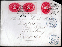 MEXICO. 1891. Uruapam. Medialons. Envelope. - Mexico