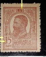 Error Romania 1909 KinG Charles I, 15 B, Error At Number 10 Bani On Box  LINE AT CROWN, , See Image Unused With Gum - Errors, Freaks & Oddities (EFO)