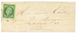 1852 15c CERES (n°2) TTB Margé Obl. ETOILE Sur Lettre De PARIS. Superbe. - 1849-1850 Ceres