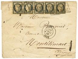 """""""JANVIER 1849 - Bande De 5"""" : 20c(n°3) Bande De 5 (pd) Bord De Feuille Obl. Grille + T.14 LYON 20 JANV. 1849 Sur Envelop - 1849-1850 Ceres"""