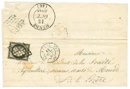1849 20c Noir(n°3) Obl. Grille ¨PARIS(E) Sur Lettre Pour MENDE LOZERE. Verso, T.13 MENDE + Cachet GRILLE. TB. - 1849-1850 Ceres