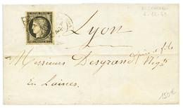 18949 20c Noir Sur Jaune Avec 4 Grandes Marges Sur Lettre Avec Texte De BESANCON Pour LYON. TTB. - 1849-1850 Ceres