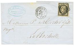 1850 20c Noir(n°3) TB Margé Obl. Grille + T.15 ROCHEFORT-S-MER Sur Lettre Pour LA ROCHELLE. TTB. - 1849-1850 Ceres