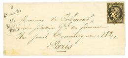 1849 20c Noir(n°3) TB Margé + Cursive 9 DIENVILLE + Dateur A Sur Enveloppe Pour PARIS. Bureau Rare. TTB. - 1849-1850 Ceres