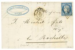 1852 25c CERES (n°4) Nuance BLEU TRES FONCE Sur Lettre De ROUEN. Signé SCHELLER. Superbe. - 1849-1850 Cérès