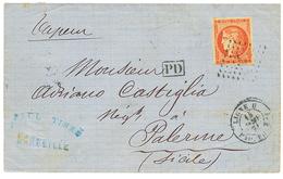 1871 40c BORDEAUX(n°48) Marges Intactes Obl. ANCRE + LIGNE U PAQ FR N°1 Sur Lettre Pour La SICILE. TB. - 1870 Bordeaux Printing