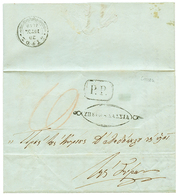 """CRETE : 1849 Boxed P.P On DISINFECTED (slit) Entire Letter Datelined """"HANIA"""" To SYROS. RARE. Vvf. - Crète"""
