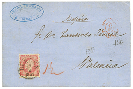 NORWAY : 1861 8 Sk Canc. BERGEN + P.P On Entire Letter (printed Matter) To VALENCIA(SPAIN). Superb. - Norvège