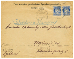 "SPITSBERG Station - POLAR : 1922 NORWAY 20 Ore(x2) Canc. KINGS BAY On Printed Envelope ""NORSKE GEOFYSISKE SPITSBERGENSTA - Norvège"