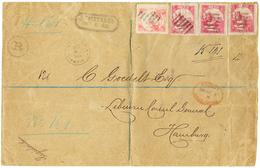 1888 LIBERIA 2c(x3) +24c On REGISTERED Envelope From MONROVIA To HAMBURG. Very Rare Franking. Vvf. - Liberia