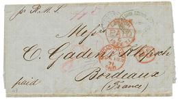"British P.O - VENEZUELA : 1871 CIUDAD BOLIVAR PAID In Red + ""8d"" Tax Marking On Entire Letter To FRANCE. Vf. - Venezuela"