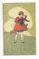21496 - Enfant Fillette Au Panier De Fleurs Et Poupée Dans Ses Bras - Femmes