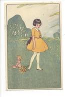 21497 - Enfant Fillette Bouquet De Fleurs Et Poupée Dans Le Pré - Altri