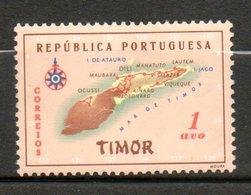 TIMOR Carte De LIle 1956 N° 289 - East Timor
