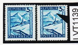 LVT1139 ÖSTERREICH 1945 MICHL 738 PLATTENFEHLER Waagrechte Linie ** Postfrisch - Abarten & Kuriositäten