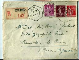 CREIL (oise) Cachet Hexagonal Du 9.9.1937 - Recommandé Creil - Storia Postale