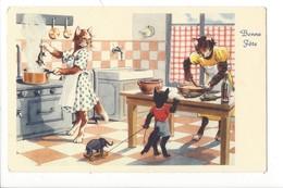 21500 - Bonne Fête Chats Humanisés La Cuisine - Chats