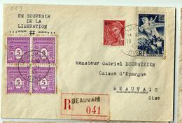BEAUVAIS (oise) 16.1.1945 Recto Verso Et N°669 Libération- Recommandé - Storia Postale