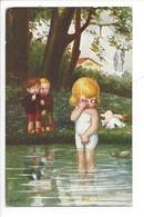 21501 - Enfants Et Fillette Dans L'eau Paysage Signé A. Bertiglia - Bertiglia, A.