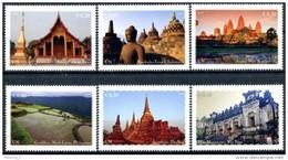 ONU Vienne 2015 - Unesco Patrimoine Mondial Asie - 6 Timbres Détachés De Carnet De Prestige ** - Wien - Internationales Zentrum