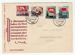 Germany DDR Karl-Marx-Jahr 1953 FDC Travelled Dresden To Bischofsheim/Rhön B190210 - [6] Democratic Republic