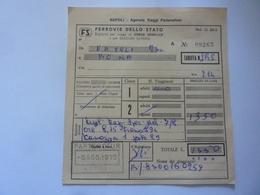 Biglietto Ferrovie Dello Stato - Agenzia Viaggi Partenotour  NAPOLI - ROMA 1973 - Chemins De Fer