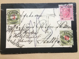 AUSTRIA 1904 Mourning Cover To Germany Re-directed To Heiden Switzerland To Grafin Plessen With Postage Dues - 1850-1918 Empire