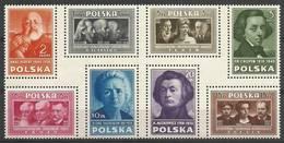 Poland 1948 Mi A486-H486 Fi A429-A436 MNH ( ZE4 PLDachA486-H486 ) - Nobel Prize Laureates