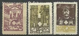 Republic Of Central Lithuania 1921 Mi 31-33 Fi 31-33B Mh - Mint Hinched ( PZE3 LTS31-33 ) - Architektur