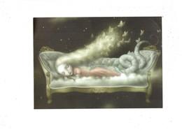 Grande Cpm - Jeune Fille Allongée Sur Canapé Endormie - Longs Cheveux Blonds Papillons - Queue De Sirène Ou Serpent - - Contes, Fables & Légendes