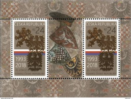 CZ 2018-0957 25 Years Of The Czech Republic, S/S, MNH - Blocs-feuillets