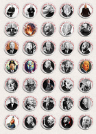 Alfred Hitchcock Movie Film Director Fan ART BADGE BUTTON PIN SET 2 (1inch/25mm Diameter) 35 DIFF - Films