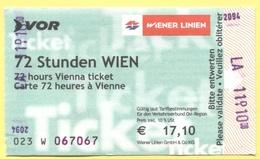 BIGLIETTO 3 GIORNI - 72 Stunden Wien - Usato - Abbonamenti