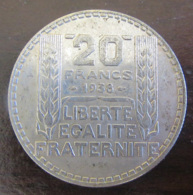 France - Monnaie 20 Francs Turin Argent 1938 - SUP - Francia