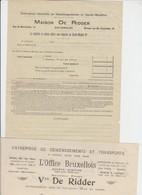 TRANSPORT DÉMÉNAGEMENT GARDE MEUBLE  - DE RIDDER - BXL - 1910 - 2 DOCS - Petits Métiers