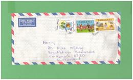 1995 TANZANIA AFFRANCATURA DI 3 DIV. FRANCOBOLLI - Tanzania (1964-...)