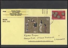 JAPAN Postal History Cover Brief JP 024 Air Mail Theater Art Coins - 1989-... Empereur Akihito (Ere Heisei)