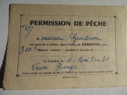 Permission De Peche Etang De Barbotin à Tresboeuf 1961 - Frankreich