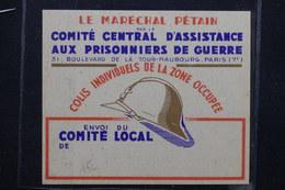 MILITARIA - Étiquette De Colis Pour Militaire Prisonniers De Guerre En 1940/45 - L 22600 - Collezioni