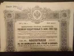 Lot 38 Emprunts RUSSE 1906 Avec Talon - Aandelen