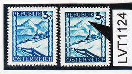 """LVT1124 ÖSTERREICH 1945 MICHL 738 PLATTENFEHLER """"REGEN"""" ** Postfrisch - Abarten & Kuriositäten"""