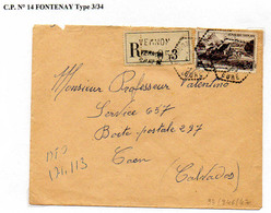 Poste Automobile Rurale De L'Eure Circuit De Vernon Nord CP N°14 Fontenay Type 3/34 - Storia Postale