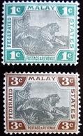 1901 Malaisie Yt 15, 16 . Tiger (Panthera Tigris) .  Malaisie États Fédéraux. Neufs Traces Charnières - Federated Malay States
