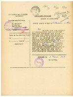 TELEGRAMME OFFICIEL / FEUILLE VOLANTE PREFET ( CACHET CROIX DE LORRAINE ) MOULINS 1945 => VILLENEUVE SUR ALLIER BUDGET D - Marcophilie (Lettres)