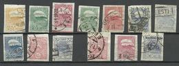 ESTLAND ESTONIA 1919/24 Tallinn Skyline Etc Stamps On Pelure Paper Zigarettenpapier O - Estonie