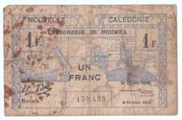 BOND DE CAISSE 1 FRANC NOUMEA NOUVELLE CALEDONIE - Nouvelle-Calédonie 1873-1985