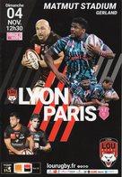 Programme Du Match Dr Top 14  LYON / STADE FRANCAIS 2018/2019 - Rugby